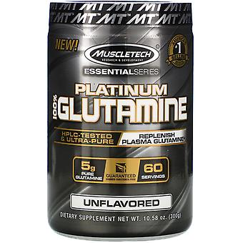 Muscletech, Essential Series, Platinum 100% Glutamine, Unflavored, 5 g, 10.58 oz