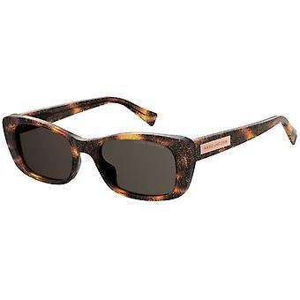 Sunglasses Women Rectangular Havana/Brown Glitter