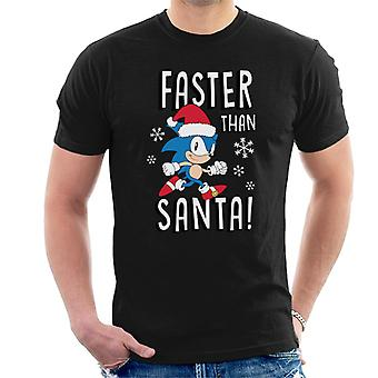 Sonic The Hedgehog snabbare än Santa Men' s T-shirt