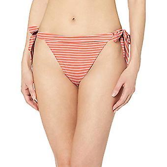 Essentials Women's Side Tie Bikini Swimsuit Bottom, Red & Pink Stripe, S
