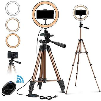 10 Inch Selfie Ring Light With 50 Inch Tripod Stand & Phone Holder For Makeup Live Stream Led Camera Ring Light With Remote