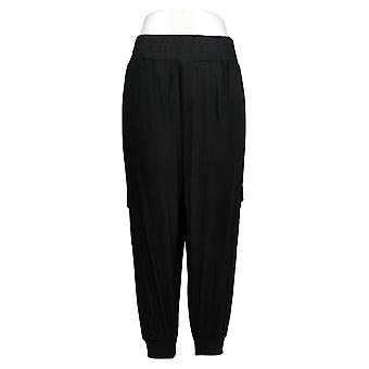 Anybody Women's Petite Pants Cozy Knit Cargo Joggers Black A310165
