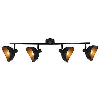 BRILJANT lamp Layton spot tube 4flg zwart mat/goud | 4x D45, E14, 25 W, geschikt voor niet inbegrepen droplampen |