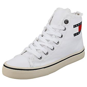 Tommy Jeans Hightop Sneaker Womens Fashion Trainers in White