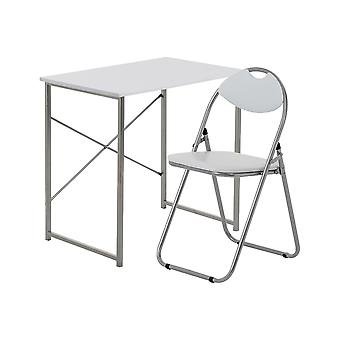2 Piece Computer Desk and Chair Set - Small Home Office - Wooden Top - White/White