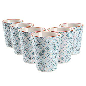 Nicola Spring Set of 6 Hand Printed Porcelain Mugs - Japanese Style Print - 300ml - Blue