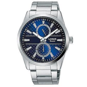 Lorus Mens Dress Bracelet Watch on Textured Blue Dial (Model No. R3A59AX9)