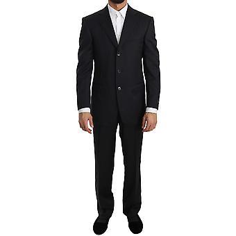 Ermenegildo Zegna Black Two Piece 3 Button Wool Suit