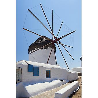Traditional windmill Chora Mykonos Greece PosterPrint