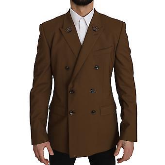 Brown wool royal crown jacket blazer