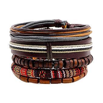 Retro Multilayer Wood Bead Bracelet Pendant Braided Leather Adjustable for Men