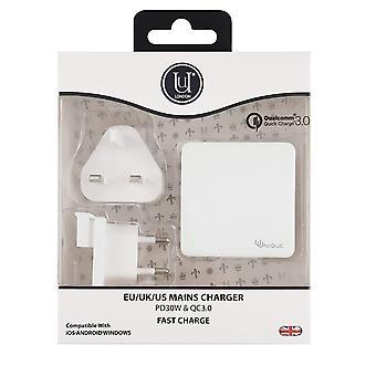 Verkkolaturi kaksois-USB pd 30w & qc3.0 valkoinen