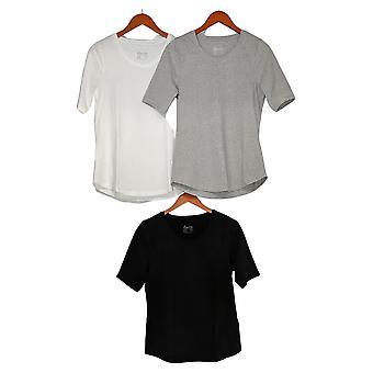 Denim & Co Essentials AnyWear Jersey Toppe - Sæt med 3 (XXS) Hvid A378932