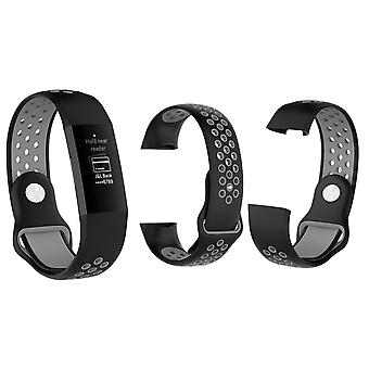 Aquarius Fitbit Charge 3 Silicone Replacement WatchStrap Band - Small,Black/Grey