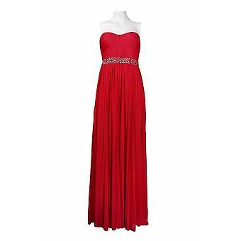 Strapless, Bead Wok, Shirred Chiffon Long Dress