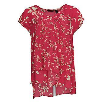 H Por Halston Mujeres's Top Impreso W/ Hi Lo Hem Rosa A353393