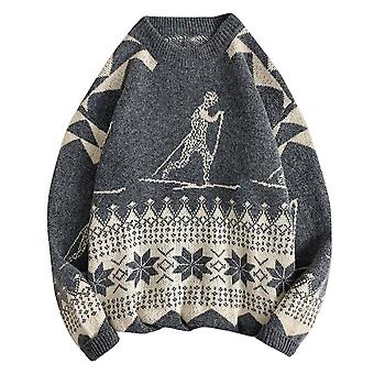 Yunyun Men's Round Neck Jacquard Loose Fit Multi-patterned Casual Sweater