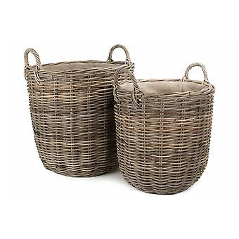 Set of 2 Hessian Lined Tall Round Fireside Grey Rattan Log Basket