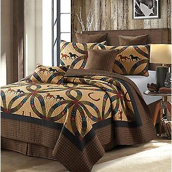 Spura Home 3-Piece Bedspread Wedding Ring Horse Size and Horseshoe Quilt Set