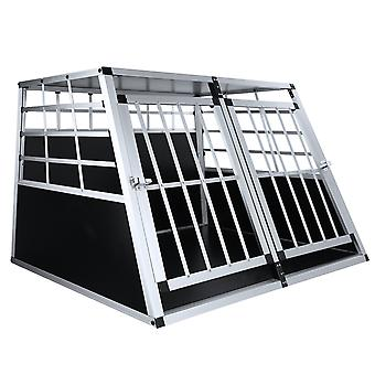 Homemiyn Metal Double Door Large Dog Cage Rugged Doghouse