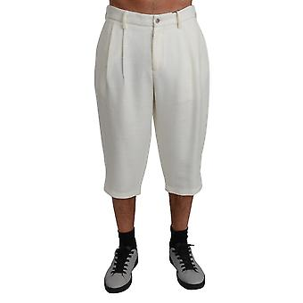White 3/4 Casual Trouser Cotton Pants