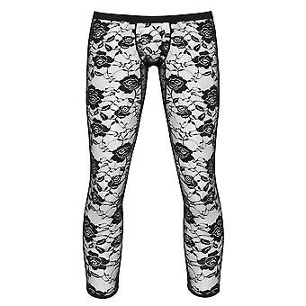 Mens See Through Sheer Floral Lace Legging Pants, Ankle Length Stretch Leggings