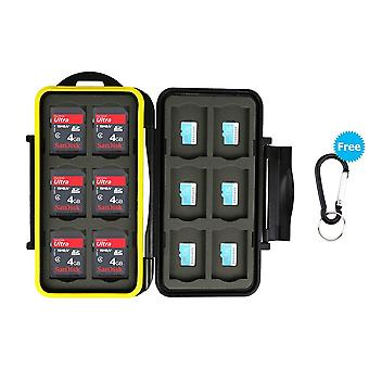 Jjc memory card case water-resistance carrying holder 24 slots storage 12 pcs micro sd/tf cards and
