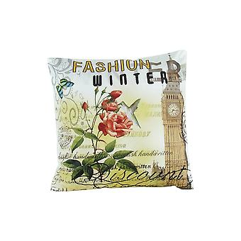 Fabric Accent Pillow With Scripted Details, Multicolor Bm229370
