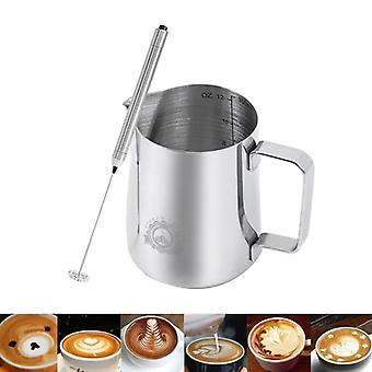 Edelstahl Frothing Kaffee Krug Pull Flower Cup Cappuccino Milch Frother