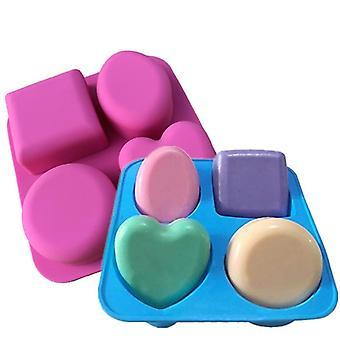 4 Cavity Soap Molds Round Oval Heart Square Shape Handmade Soap Mold