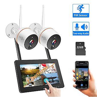 Hiseeu WNKIT-7V-2HB412 Hvid 2MP trådløst netværk kamera systemsæt