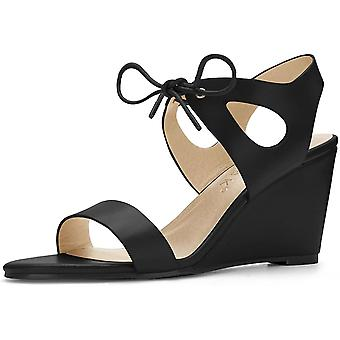 Allegra K Women's Ankle Strap Low Wedges Sandals