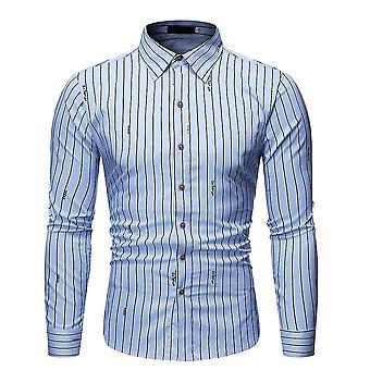 Mannen's verticale strepen bedrukt shirt met lange mouwen