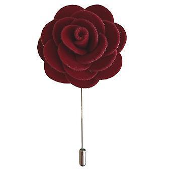 Handgemaakte bloem / rose fluwelen revers pin   Donkerrood