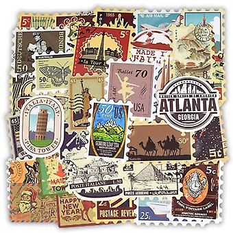 Retro Style, Various Countrie's Stamp Stickers