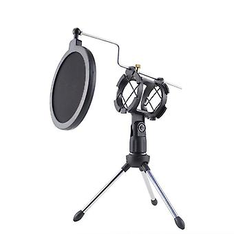 Mic Microphone Scissor Suspension Arm Stand And Table Mounting Clamp, Filter