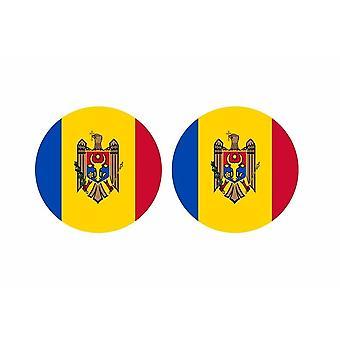 2x stick klistermärke rund cocarde moldavisk flagga