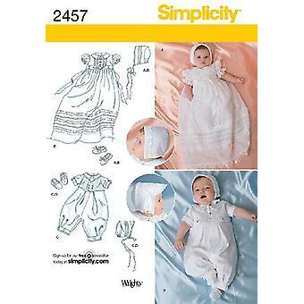 بساطة نمط الخياطة 2457 طفل الطفل التعميد المناسبات الخاصة حجم XXS-M