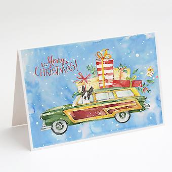 Glædelig jul Boston Terrier lykønskningskort og konvolutter Pack af 8