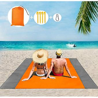 Beach Blanket Picnic Blanket, Extra Large 210 X 200cm Waterproof Beach Mat With 4 Fixed Nails