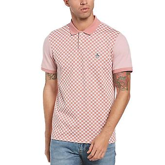 Original Penguin Checkerboard Knit Jacquard Polo - Dusty Rose