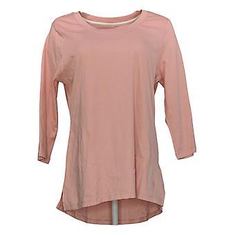 Isaac Mizrahi Live! Women's Top Pima Cotton 3/4 Sleeve Pink A300290
