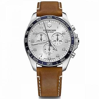 Relógio Victorinox FieldForce masculino em couro marrom - 42 mm