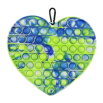 Stuff Certified® XL Pop It - Extra Large Fidget Anti Stress Toy Bubble Toy Silicone Heart Blue-Green