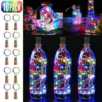 10 pièces Led Bottle Light, 20 Leds 2m Fairy Lights Copper Wire Battery Operated Wine Bottle Lights