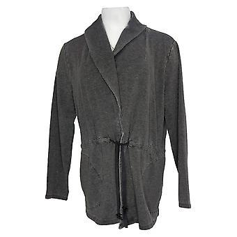 Noen kvinner's vasket fransk Terry sjal krage jakke grå A392855