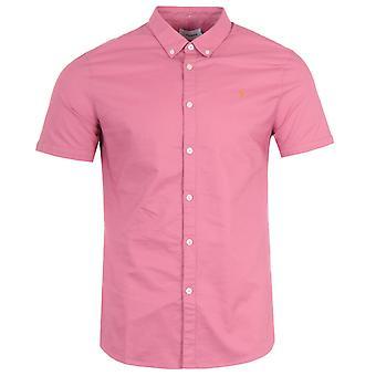 Farah Brewer Slim Fit Short Sleeve Oxford Shirt - Dusty Rose