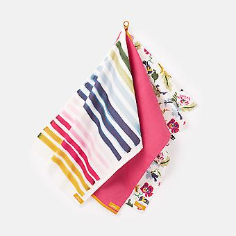 Joules Floral Stripe Set of 3 Tea Towels