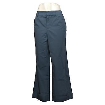Martha Stewart Pantalones de mujer regular Chino wide-leg cuffed blue A354315