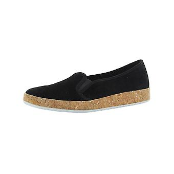 Isaac Mizrahi Live Womens Rosie Suede Slip-On Cork Sneakers